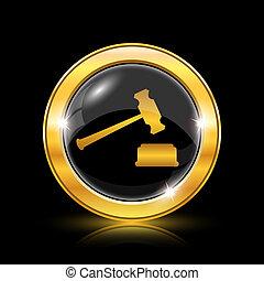 Judge hammer icon - Golden shiny icon on black background -...