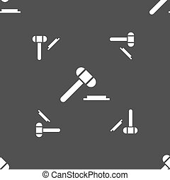 judge hammer icon. Seamless pattern on a gray background. Vector