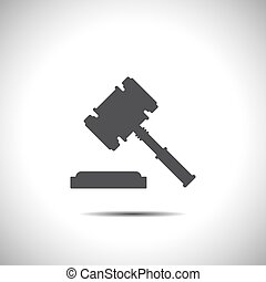 judge hammer vector icon