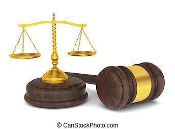 Judge hammer with scales, law concept. 3d illustration on...