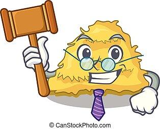 Judge hay bale mascot cartoon vector illustration