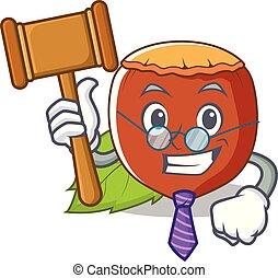 Judge hazelnut mascot cartoon style