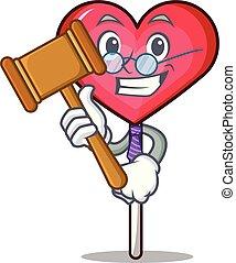 Judge heart lollipop mascot cartoon