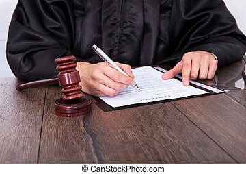 Judge Holding Mallet - Close-up Of A Judge Hitting Mallet At...