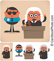 Judge - Illustration of cartoon judge in 4 different...