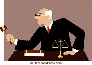Judge in a courtroom - Male judge with a gavel presides over...