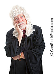 Judge in Wig - Bored - British style judge wearing a wig and...
