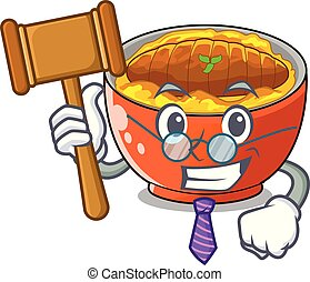 Judge katsudon is served on mascot plate