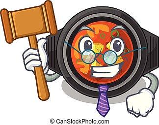 Judge kimchi tighe above the cartoon table vector...