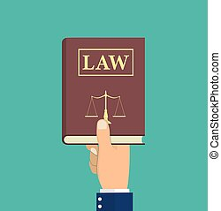 Judge, lawyer holding Law book in hand. Concept of justice....