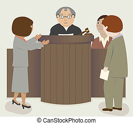 A courtroom scene with judge, lawyers, witness