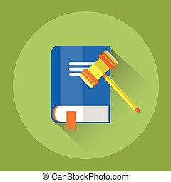 Judge Mallet With Law Book Colorful Icon Flat Vector...
