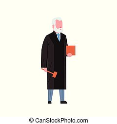 judge man court worker in judicial robe holding book and...
