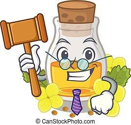Judge mustard oil in the cartoon shape