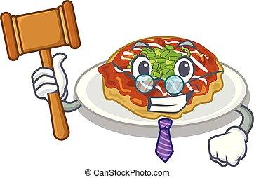 Judge okonomiyaki is served on cartoon plate