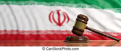 Judge or auction gavel on Iran flag background. 3d illustration