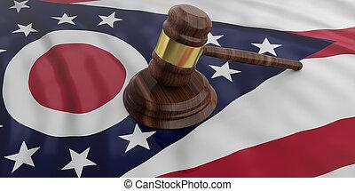Judge or auction gavel on Ohio US America flag background. 3d illustration