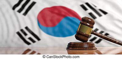 Judge or auction gavel on South Korea flag background. 3d illustration