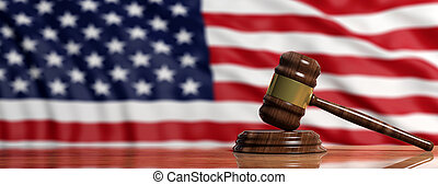 Judge or auction gavel on US America flag background. 3d illustration