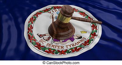 Judge or auction gavel on Virginia US America flag background. 3d illustration