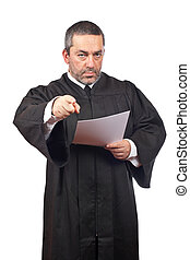 Serious male judge reading the sentence, isolated on white background over a white background