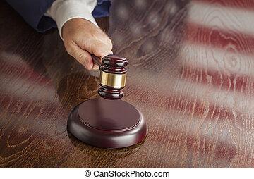 Judge Slams Gavel and American Flag Table Reflection