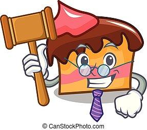 Judge sponge cake mascot cartoon vector illustration