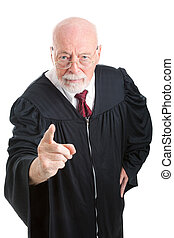 Judge - Stern and Scolding - Serious, stern judge pointing ...