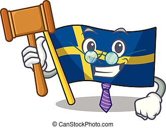 Judge swede flags flutter on character pole vector ...
