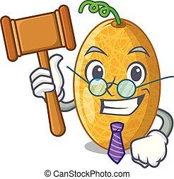 Judge tasty honeydew melon isolated on mascot