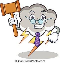 Judge thunder cloud character cartoon vector illustration
