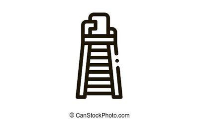 Judge Tower Chair Icon Animation. black Judge Tower Chair animated icon on white background