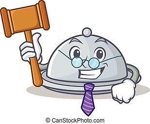 Judge tray character cartoon style vector illustration
