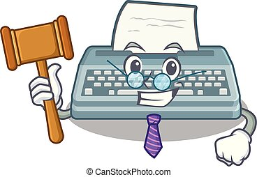 Judge typewriter in the a mascot closet