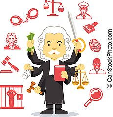 Judge vector flat illustration icon