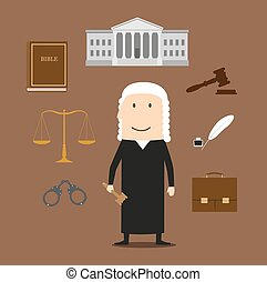 Judge profession icons with judge man in mantle and wig, encircled by law book, gavel, prisoner photo, court building, scales, paper scroll and briefcase