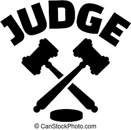 Judge with crossed gavels
