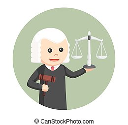 judge with gavel and scale in circle background