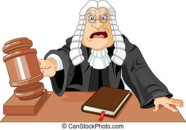 Judge with gavel - Angry judge with gavel makes verdict for...