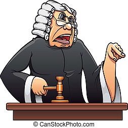 Judge with gavel for law concept design in cartoon style