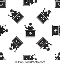 Judge With Gavel icon seamless pattern on white background. Vector Illustration