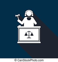 Judge With Gavel icon with long shadow.