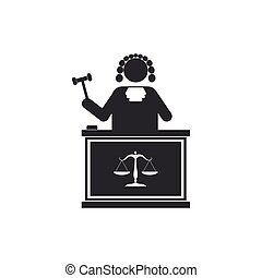 Judge with gavel on table icon isolated. Flat design. Vector Illustration