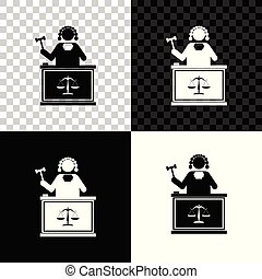 Judge with gavel on table icon isolated on black, white and transparent background. Vector Illustration