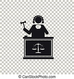 Judge with gavel on table icon isolated on transparent background. Flat design. Vector Illustration