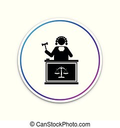 Judge with gavel on table icon isolated on white background. Circle white button. Vector Illustration