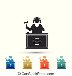 Judge with gavel on table icon isolated on white background. Set elements in colored icons. Flat design. Vector Illustration