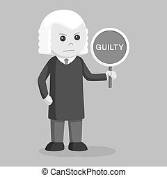 Judge with guilty sign