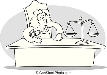 Judge with hammer in his hand. Cartoon vector illustration