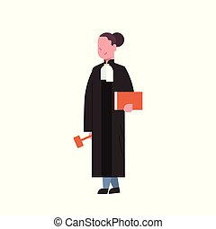 judge woman court worker in judicial robe holding book and...